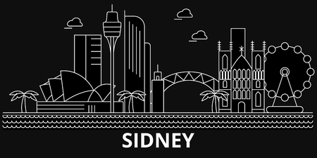 Sidney silhouette skyline. Australia - Sidney vector city, australian linear architecture, buildings. Sidney line travel illustration, landmarks. Australia flat icon, australian outline design banner