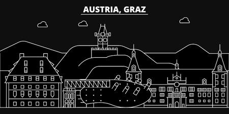 Graz silhouette skyline. Austria - Graz vector city, austrian linear architecture, buildings. Graz line travel illustration, landmarks. Austria flat icon, austrian outline design banner  イラスト・ベクター素材