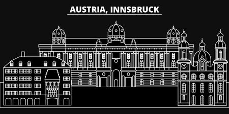 Innsbruck silhouette skyline. Austria - Innsbruck vector city, austrian linear architecture, buildings. Innsbruck line travel illustration, landmarks. Austria flat icon, austrian outline design banner Illusztráció