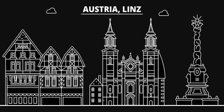 Linz silhouette skyline. Austria - Linz vector city, austrian linear architecture, buildings. Linz line travel illustration, landmarks. Austria flat icon, austrian outline design banner