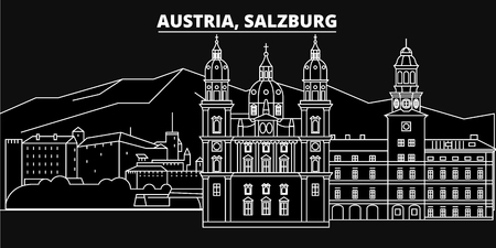 Salzburg silhouette skyline. Austria - Salzburg vector city, austrian linear architecture, buildings. Salzburg line travel illustration, landmarks. Austria flat icon, austrian outline design banner