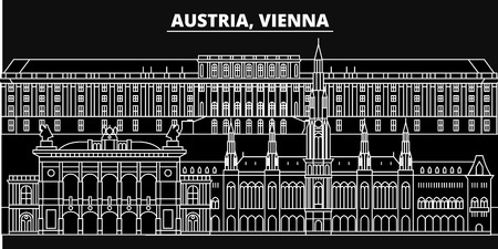 Vienna city silhouette skyline. Austria - Vienna city vector city, austrian linear architecture, buildings. Vienna city line travel illustration, landmarks. Austria flat icon, austrian outline design banner Ilustração