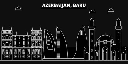 Baku silhouette skyline. Azerbaijan - Baku vector city, azerbaijani linear architecture, buildings. Baku travel illustration, outline landmarks. Azerbaijan flat icon, azerbaijani line banner