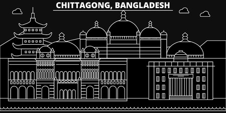 Chittagong silhouette skyline. Bangladesh - Chittagong vector city, bangladeshi linear architecture, buildings. Chittagong line travel illustration, landmarks. Bangladesh flat icon, bangladeshi outline design banner