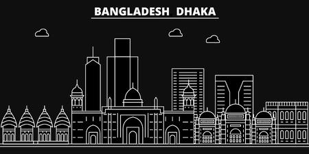 Dhaka silhouette skyline. Bangladesh - Dhaka vector city, bangladeshi linear architecture, buildings. Dhaka travel illustration, outline landmarks. Bangladesh flat icon, bangladeshi line banner Illustration