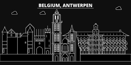 Antwerpen silhouette skyline. Belgium - Antwerpen vector city, belgian linear architecture, buildings. Antwerpen line travel illustration, landmarks. Belgium flat icon, belgian outline design banner