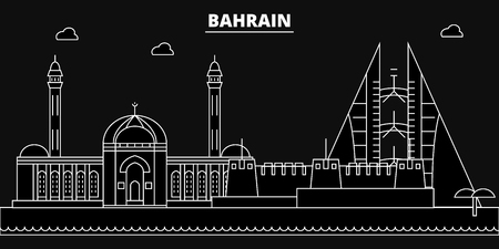 Bahrain silhouette skyline. Bahrain vector city, bahraini linear architecture, buildingline travel illustration, landmarkflat icon, bahraini outline design, banner