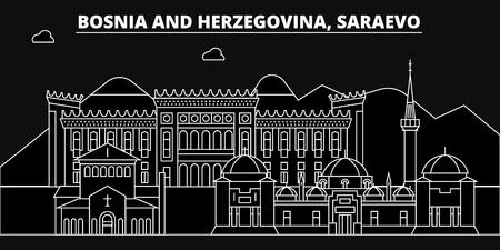 Saraevo silhouette skyline. Bosnia and Herzegovina - Saraevo vector city, bosnian linear architecture, buildings. Saraevo line travel illustration, landmarks. Bosnia and Herzegovina flat icon, bosnian outline design banner