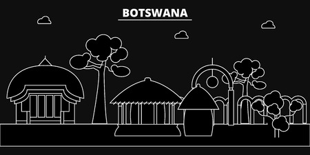 Botswana silhouette skyline, Botswana vector city, botswanan linear architecture, buildingline travel illustration, landmarkflat icon, botswanan outline design, banner Imagens - 102158529