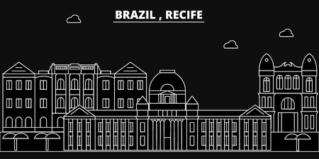 Recife silhouette skyline. Brazil - Recife vector city, brazilian linear architecture, buildings. Recife line travel illustration, landmarks. Brazil flat icon, brazilian outline design banner