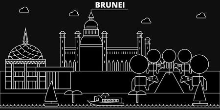 Brunei silhouette skyline, Brunei vector city, bruneian linear architecture, buildingline travel illustration, landmarkflat icon, bruneian outline design, banner