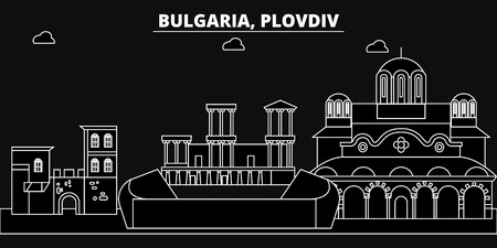 Plovdiv silhouette skyline. Bulgaria - Plovdiv vector city, bulgarian linear architecture, buildings. Plovdiv line travel illustration, landmarks. Bulgaria flat icon, bulgarian outline design banner