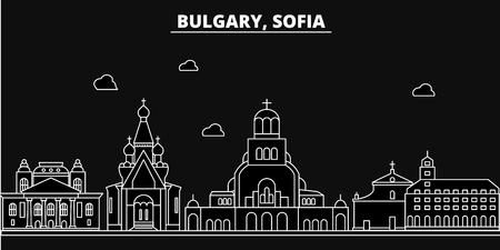 Sofia silhouette skyline. Bulgaria - Sofia vector city, bulgarian linear architecture, buildings. Sofia line travel illustration, landmarks. Bulgaria flat icon, bulgarian outline design banner