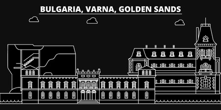 Varna, Golden Sands silhouette skyline. Bulgaria - Varna, Golden Sands vector city, bulgarian linear architecture, buildings. Varna, Golden Sands line travel illustration, landmarks. Bulgaria flat icon, bulgarian outline design banner