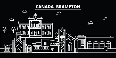 Brampton silhouette skyline. Canada - Brampton vector city, canadian linear architecture, buildings. Brampton line travel illustration, landmarks. Canada flat icon, canadian outline design banner Иллюстрация