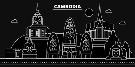 Cambodia silhouette skyline, Cambodia vector city, cambodian linear architecture, buildingline travel illustration, landmarkflat icon, cambodian outline design, banner