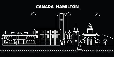 Hamilton silhouette skyline. Canada - Hamilton vector city, canadian linear architecture, buildings. Hamilton line travel illustration, landmarks. Canada flat icon, canadian outline design banner