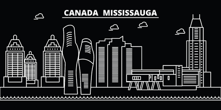 Mississauga silhouette skyline. Canada - Mississauga vector city, canadian linear architecture, buildings. Mississauga line travel illustration, landmarks. Canada flat icon, canadian outline design banner