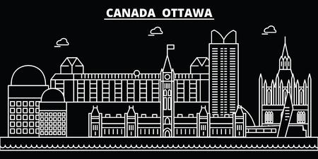 Ottawa silhouette skyline. Canada - Ottawa vector city, canadian linear architecture, buildings. Ottawa line travel illustration, landmarks. Canada flat icon, canadian outline design banner Иллюстрация