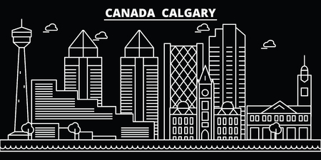 Calgary silhouette skyline. Canada - Calgary vector city, canadian linear architecture, buildings. Calgary line travel illustration, landmarks. Canada flat icon, canadian outline design banner Illustration