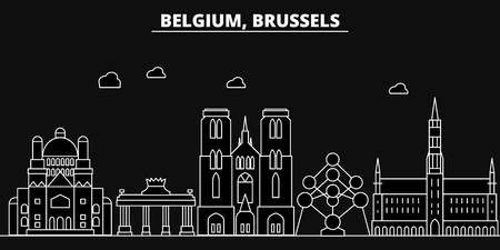 Brussels silhouette skyline. Belgium - Brussels vector city, belgian linear architecture, buildings. Brussels line travel illustration, landmarks. Belgium flat icon, belgian outline design banner Иллюстрация