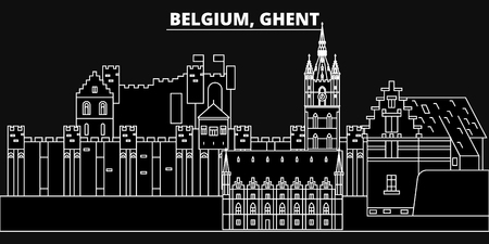 Ghent silhouette skyline. Belgium - Ghent vector city, belgian linear architecture, buildings. Ghent line travel illustration, landmarks. Belgium flat icon, belgian outline design banner  イラスト・ベクター素材