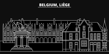 Liege silhouette, skyline. Belgium - Liege vector city, belgian linear architecture, buildings. Liege line travel illustration, landmarks. Belgium flat icon, belgian outline design banner Ilustração