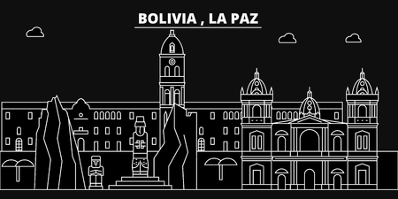 La Paz silhouette skyline. Bolivia - La Paz vector city, bolivian linear architecture, buildings. La Paz line travel illustration, landmarks. Bolivia flat icon, bolivian outline design banner Иллюстрация