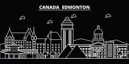 Edmonton silhouette skyline. Canada - Edmonton vector city, canadian linear architecture, buildings. Edmonton line travel illustration, landmarks. Canada flat icon, canadian outline design banner