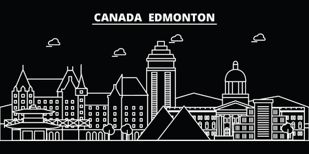 Edmonton silhouette skyline. Canada - Edmonton vector city, canadian linear architecture, buildings. Edmonton line travel illustration, landmarks. Canada flat icon, canadian outline design banner