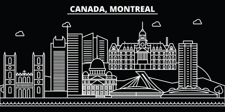 Montreal silhouette skyline. Canada - Montreal vector city, canadian linear architecture, buildings. Montreal line travel illustration, landmarks. Canada flat icon, canadian outline design banner