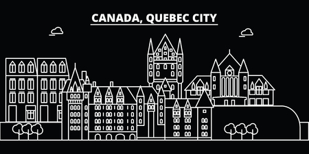 Quebec City silhouette skyline. Canada - Quebec City vector city, canadian linear architecture, buildings. Quebec City line travel illustration, landmarks. Canada flat icon, canadian outline design banner