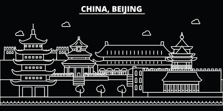 Beijing city silhouette skyline. China - Beijing city vector city, chinese linear architecture, buildings. Beijing city line travel illustration, landmarks. China flat icon, chinese outline design ban  イラスト・ベクター素材