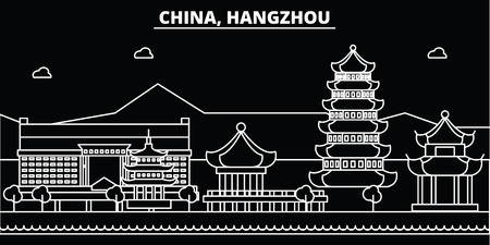Hangzhou silhouette skyline. China - Hangzhou vector city, chinese linear architecture, buildings. Hangzhou line travel illustration, landmarks. China flat icon, chinese outline design banner