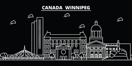 Winnipeg silhouette skyline. Canada - Winnipeg vector city, canadian linear architecture, buildings. Winnipeg line travel illustration, landmarks. Canada flat icon, canadian outline design banner