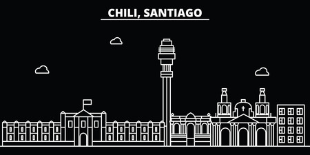 Santiago de Chile silhouette skyline. Santiago de Chile vector city, chilian linear architecture, travel illustration, outline landmarkflat line icon, s