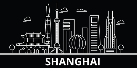 Shanghai silhouette skyline. China - Shanghai vector city, chinese linear architecture, buildings. Shanghai line travel illustration, landmarks. China flat icon, chinese outline design banner