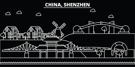 Shenzhen silhouette skyline. China - Shenzhen vector city, chinese linear architecture, buildings. Shenzhen line travel illustration, landmarks. China flat icon, chinese outline design banner Illustration
