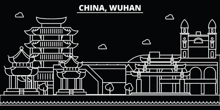Wuhan silhouette skyline. China - Wuhan vector city, chinese linear architecture, buildings. Wuhan line travel illustration, landmarks. China flat icon, chinese outline design banner Illustration