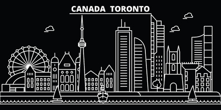 Toronto city silhouette skyline. Canada - Toronto city vector city, canadian linear architecture, buildings. Toronto city line travel illustration, landmarks. Canada flat icon, canadian outline design banner Ilustração
