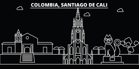 Santiago de Cali silhouette skyline. Colombia - Santiago de Cali vector city, colombian linear architecture, buildings. Santiago de Cali line travel illustration, landmarks. Colombia flat icon, colombian outline design banner Reklamní fotografie - 102158652