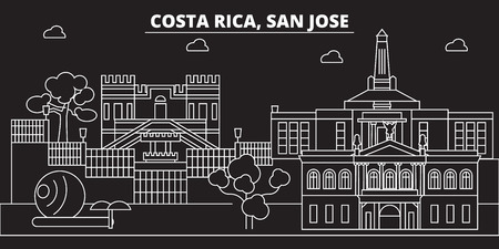 San Jose silhouette skyline. Costa Rica - San Jose vector city, costa rican linear architecture, buildings. San Jose line travel illustration, landmarks. Costa Rica flat icon, costa rican outline desi  イラスト・ベクター素材