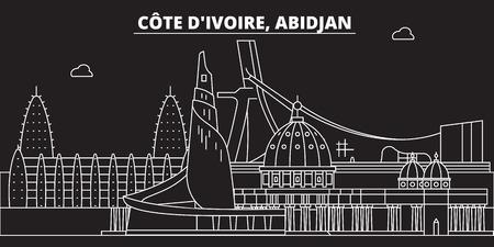 Abidjan silhouette skyline. Cote dIvoire - Abidjan vector city, ivorian linear architecture, buildings. Abidjan travel illustration, outline landmarks. Cote dIvoire flat icon, ivorian line design banner Ilustração