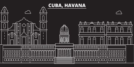 Havana silhouette skyline. Cuba - Havana vector city, cuban linear architecture, buildings. Havana travel illustration, outline landmarks. Cuba flat icon, cuban line design banner