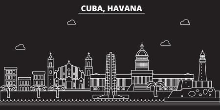 Havana silhouette skyline. Cuba - Havana vector city, cuban linear architecture, buildings. Havana line travel illustration, landmarks. Cuba flat icon, cuban outline design banner