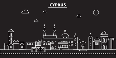 Cyprus silhouette skyline. Cyprus vector city, cypriot linear architecture, buildingline travel illustration, landmarkflat icon, cypriot outline design, banner Фото со стока - 102158661