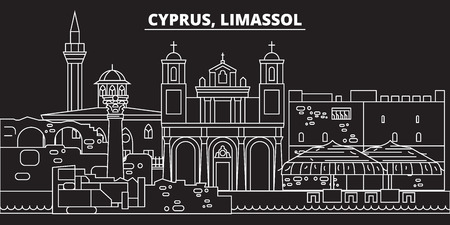 Limassol silhouette skyline. Cyprus - Limassol vector city, cypriot linear architecture, buildings. Limassol line travel illustration, landmarks. Cyprus flat icon, cypriot outline design banner