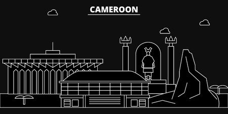 Cameroon silhouette skyline, Cameroon vector city, cameroonian linear architecture, buildings., line travel illustration, landmarkflat icon, cameroonian outline design, banner