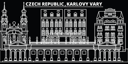 Karlovy Vary silhouette skyline. Czech Republic - Karlovy Vary vector city, czech linear architecture, buildings. Karlovy Vary line travel illustration, landmarks. Czech Republic flat icon, czech outline design banner Illusztráció