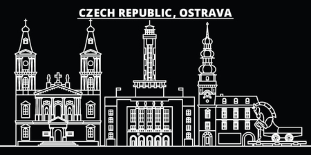 Ostrava silhouette skyline. Czech Republic - Ostrava vector city, czech linear architecture, buildings. Ostrava line travel illustration, landmarks. Czech Republic flat icon, czech outline design banner Illusztráció